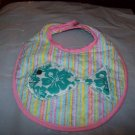 Handmade Striped Baby Bib With Green Hawiian Fish