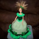 Barbie Toilet Tissue Cover Doll In Light Green & Clovers