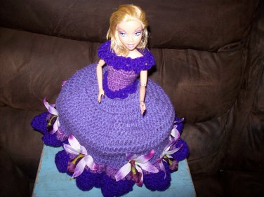 Barbie Toilet Tissue Cover Doll In Medium Purple And Lilys