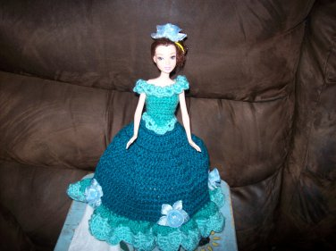 Barbie Toilet Tissue Cover Doll In Dark Teal