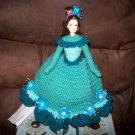 Hand Crocheted Barbie Toilet Tissue Cover Doll In Medium Teal