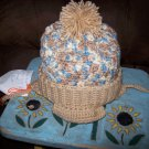 Hand Crocheted Hat For Kids In Varigated Buff.