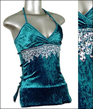 Sexy NEW Green Sequined Velvet Halter Top