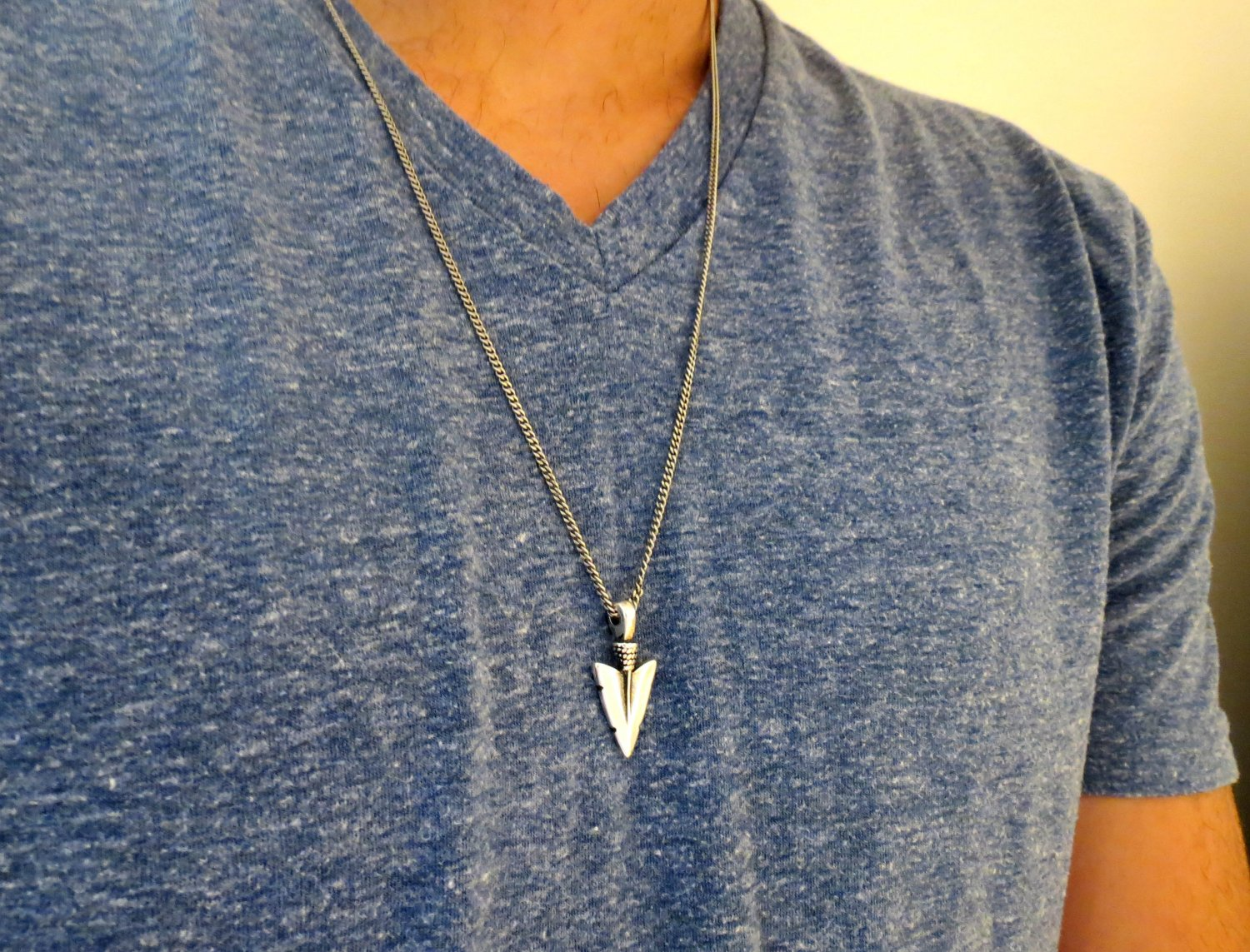 Men's Necklace - Men's Spear Necklace - Men's Silver Necklace - Mens Jewelry