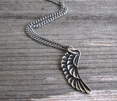 Men's Necklace - Men's Angel Wing Necklace - Men's Silver Necklace - Mens Jewelry