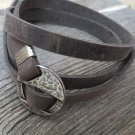 Men's Bracelet - Men's Geometric Bracelet - Men's Gray Bracelet - Men's Leather Bracelet