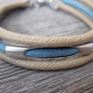 Men's Bracelet - Men's Tube Bracelet - Men's Beige And Blue Bracelet - Men's Jewelry