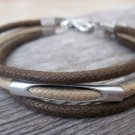 Men's Bracelet - Men's Tube Bracelet - Men's Brown And Beige Bracelet - Men's Jewelry