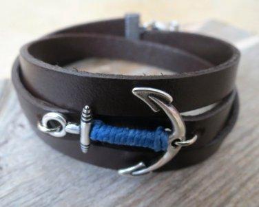 Men's Bracelet - Men's Anchor Bracelet - Men's Leather Bracelet - Men's Jewelry - Men's Gift