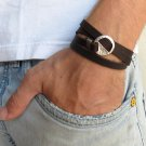 Men's Bracelet - Men's Geometric Bracelet - Men's Brown Bracelet - Men's Leather Bracelet