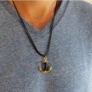 Men's Necklace - Men's Anchor Necklace - Men's Black Necklace - Mens Jewelry