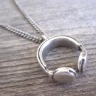 Men's Necklace - Men's Earphone Necklace - Men's Silver Necklace - Mens Jewelry