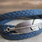 Men's Bracelet - Men's Feather Bracelet - Men's Blue Bracelet - Men's Jewelry - Bracelets For Men