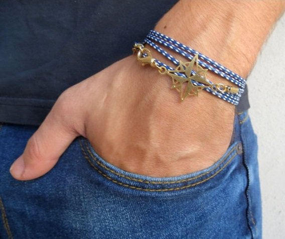 Men's Bracelet - Men's Compass Bracelet - Men's Blue And White Bracelet - Mens Jewelry