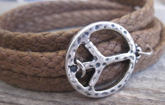 Men's Bracelet - Men's Peace Bracelet - Men's Brown Bracelet - Men's Jewelry - Bracelets For Men