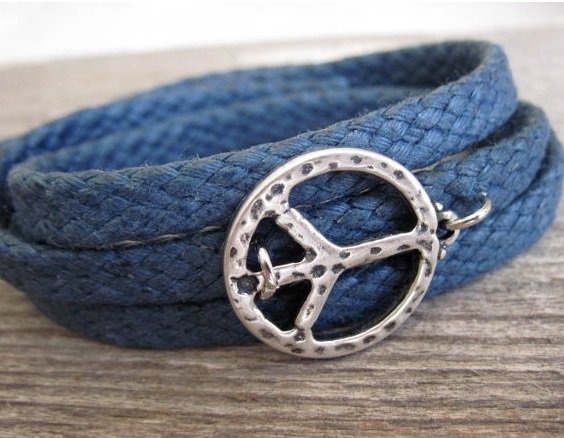 Men's Bracelet - Men's Peace Bracelet - Men's Blue Bracelet - Men's Jewelry - Bracelets For Men
