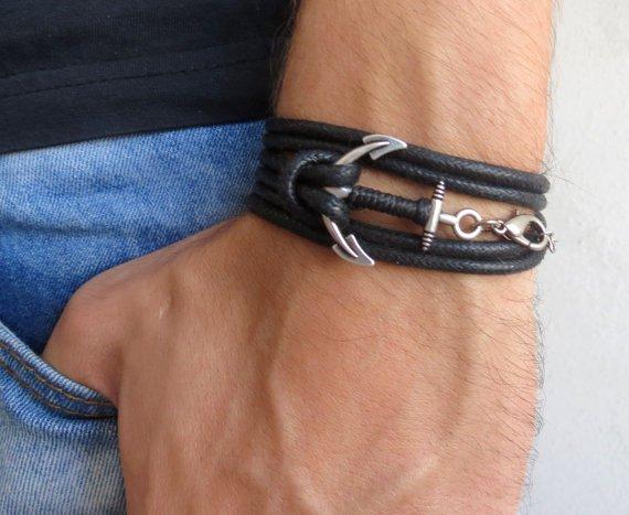 Men's Bracelet - Men's Anchor Bracelet - Men's Black Bracelet - Mens Jewelry - Bracelets For Men