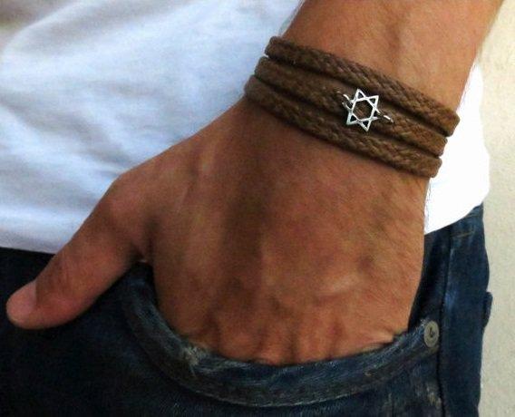 Men's Bracelet - Men's Star Of David Pendant - Men's Brown Bracelet - Men's Judiaca Bracelet
