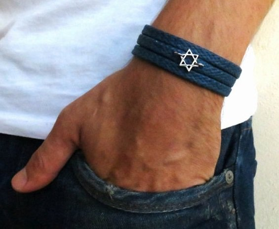 Men's Bracelet - Men's Star Of David Pendant - Men's Blue Bracelet - Men's Judiaca Bracelet