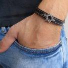 Men's Bracelet - Men's Star Of David Bracelet - Men's Black Bracelet