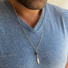 Men's Necklace - Men's Feather Necklace - Men's Gold Necklace - Mens Jewelry