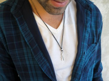 Men's Necklace - Men's Guitar Necklace - Men's Silver Necklace - Mens Jewelry