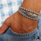 Men's Bracelet - Men's Feather Bracelet - Men's Gray Bracelet - Men's Jewelry - Bracelets For Men