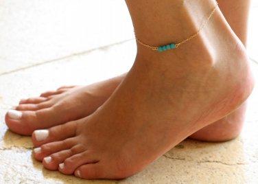 Gold Anklet - Gold Ankle Bracelet - Turquoise Anklet - Foot Jewelry - Foot Bracelet