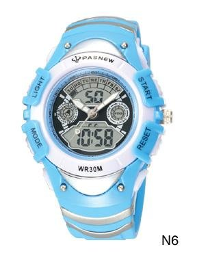 HighQuality PASNEW LED+Pointer Water-proof Dual Time Boys Sport Watch --N6
