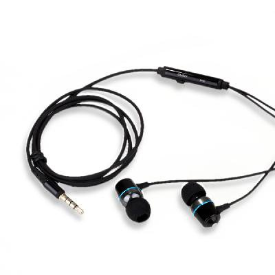 KingTime Black 3.5mm plug in-ear stereo TPE metal earphones for iphone, ipod, ipad,samsung