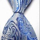 New Bright Blue Paisley JACQUARD WOVEN Men's Tie Necktie