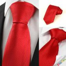 New Classic Striped Scarlet Red Men Tie Necktie Wedding Party Holiday Gift