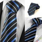 New Striped Blue Black JACQUARD Men's Tie Necktie Wedding Holiday Gift