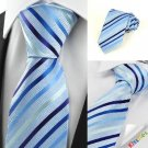Striped Light Blue JACQUARD Men's Tie Formal Necktie Wedding Holiday Gift #0017