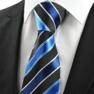 Classic Striped Blue Black JACQUARD Men's Tie Necktie Formal Business Gift #0001