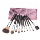 10PCS Pink Handle Cosmetic Brush Set With Pink&Black Check Leather Pouch