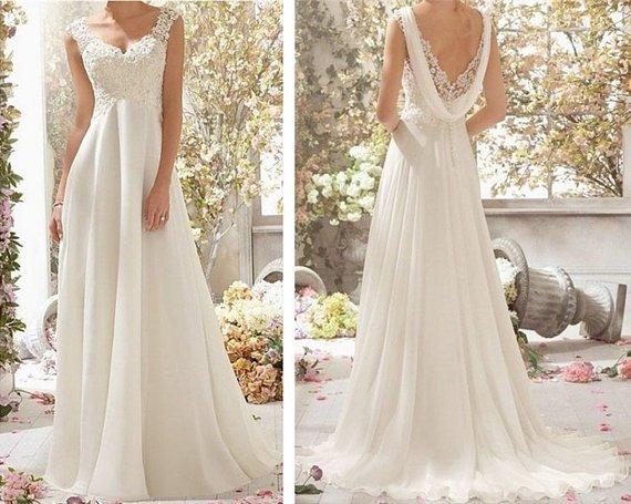 New Floor Length Lace Cap Sleeve Wedding Dress Bridal Gowns Custom Size 2-4-6-8-10-12-14-16-18