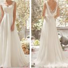 New Floor Length Lace Cap Sleeve Wedding Dress Bridal Gowns Custom Size 2-4-6-8-10-12-14-16-18