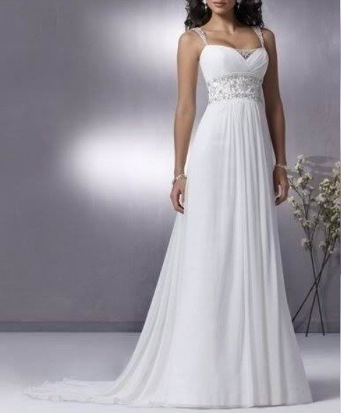 New Sexy Chiffon New Hot white/ivory chiffon bridal gown prom dress Size 6-8-10-12-14-16
