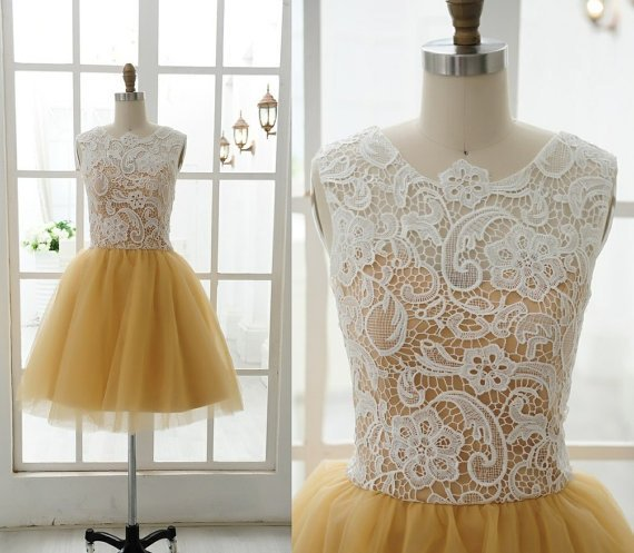 Custom Made Lace Tulle Bridesmaid Dress Prom Dress Mint Blue Yellow Dress Evening Dress