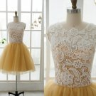 Custom Made Lace Tulle Bridesmaid Dress Prom Dress Mint Blue Yellow Dress Evening Dress