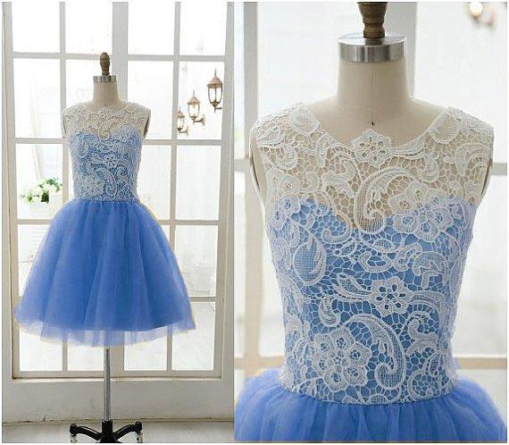 Lace Tulle Bridesmaid Dress Prom Dress Mint Blue Blue Dress Evening Dress Homecoming Dress