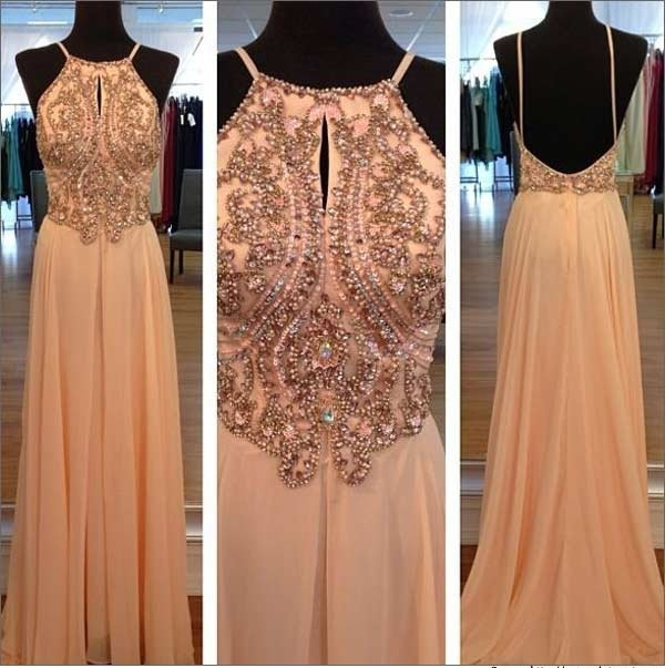 Light Peach Long Prom Dresses, Straps Prom Gowns,Beaded Evening Dresses, Cocktail Dresses