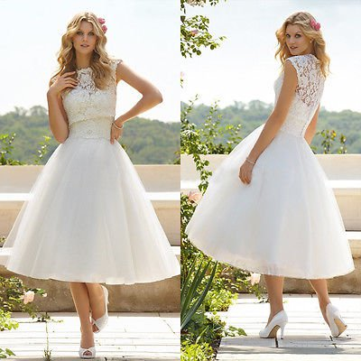 A Line High Collar Tea Length Tulle Appliques Wedding Lace Dress