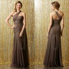 Chocolate Long Prom Dresses One-Shoulder Bridesmaid Evening Dresses Party Wedding Gowns