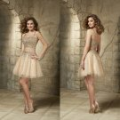 Champagne The Two-Piece Tulle Straps Short Prom Dress Beaded Evening Party Gown Cocktail Dresses