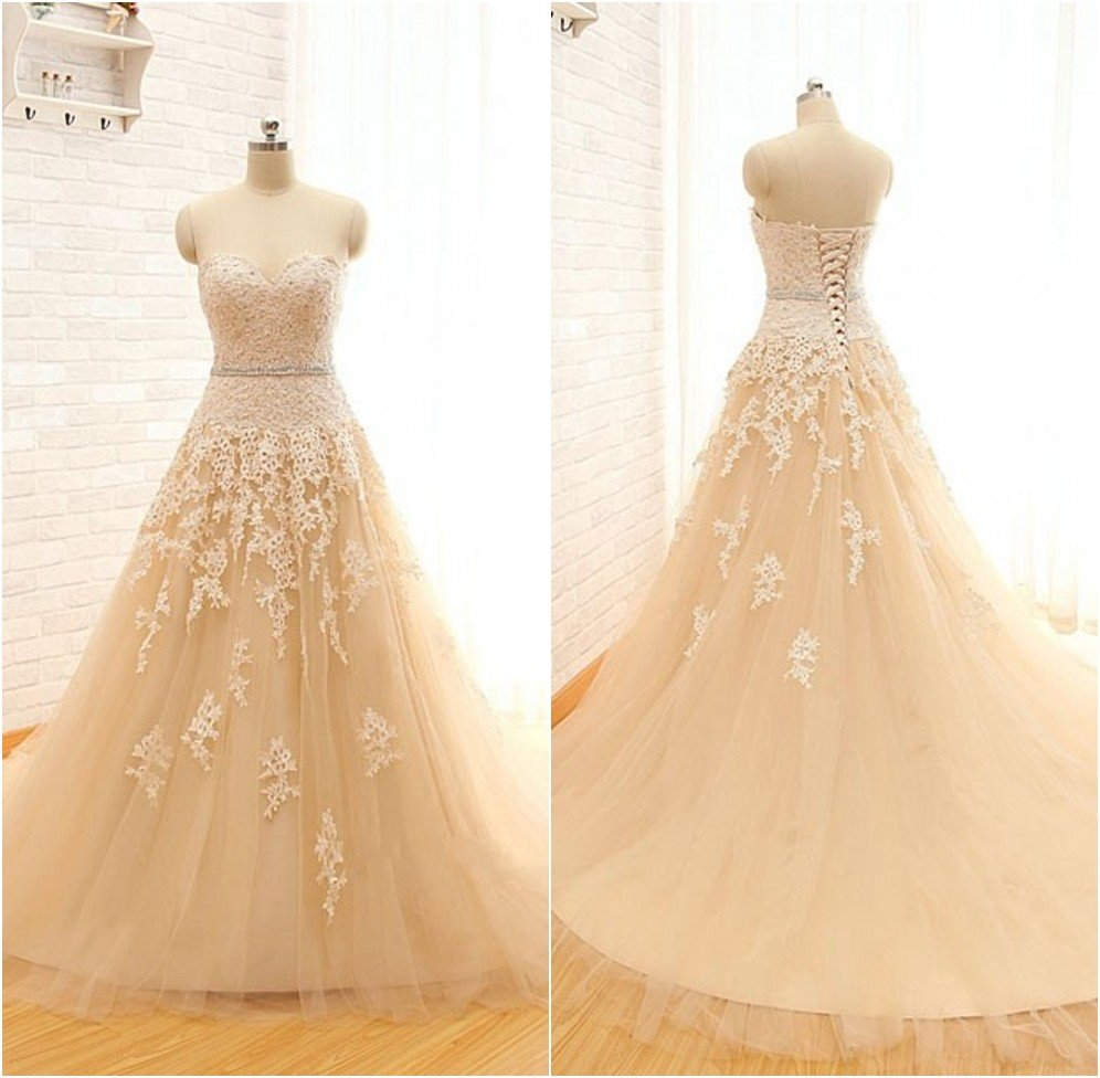 Real Image Sweetheart Lace Tulle Wedding Dresses 2017 A-Line Bridal Gowns Vintage Wedding Dress