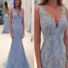 Elegant Lace Evening Dress, Blue Prom Dress, Long Prom Dress, Lace Prom Dress