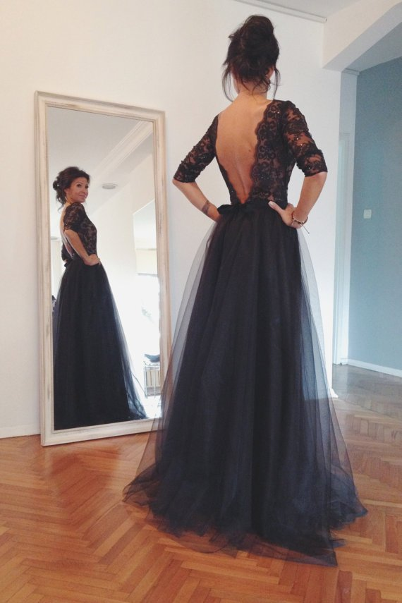 Lace and Tulle Prom Dresses, Floor-Length Prom Dresses, Sexy Backless Prom Dresses