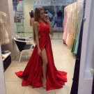 Real Sexy Cheap Front Split Prom Dresses,Simple Long Party Dresses,Deep V-neck Evening Dresses